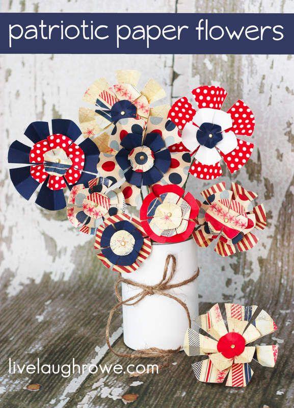 Patriotic Paper Flowers with livelaughrowe.com @Olivia Eggers Laugh Rowe