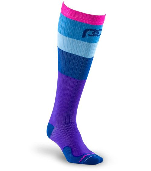 Get maximum recovery with Marathon Neon and Blue Band full-length, graduated compression sock by PRO Compression.
