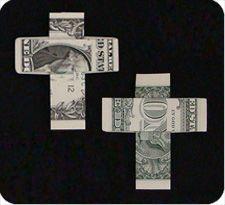 Dollar Bill Cross - First Communion Gift