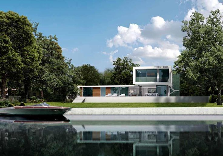 Strawberry Vale   Richmond   Private home by Dyer Grimes Architects    Contemporary white home situated on the banks of the River Thames. large amounts of glass bring the landscape into the house and the home into the garden.