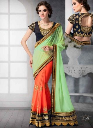 Infinity See Green And Orange Half N Half Embroidery Work Designer Sarees