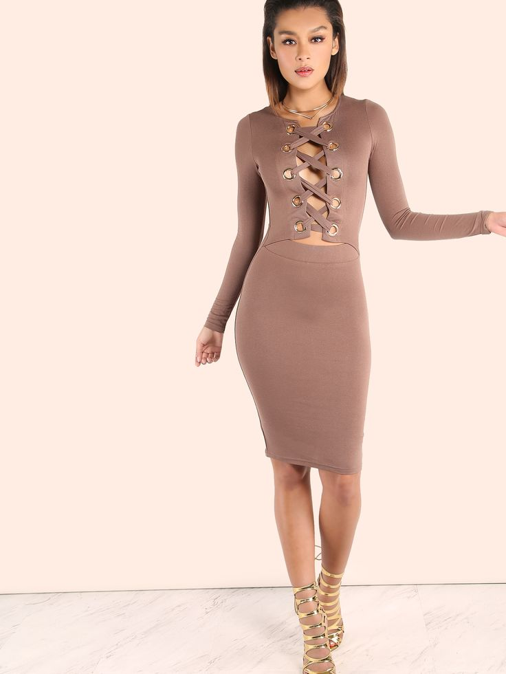 """Featuring big eyelets with a lace up detailing, sleeved arms, comfortable stretchy material, a peakaboo waist, midi length dress and an underlining skirt. Dress measures 39"""" in. from top to bottom hem. Team with gold accessories. #sexy#MakeMeChic #MMCstyle #ootd #MMC #style #fashion #newarrivals #summer16"""