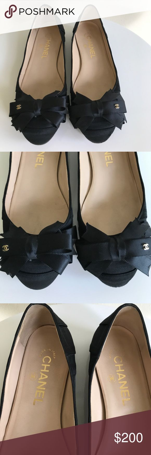 Chanel black satin flats with bow size 36 (6) Chanel black satin flats with bow size 36 (6);  moderate wear on bottom.  Very light wear on satin by heel.  Originally  purchased at Chanel in Houston for $795 CHANEL Shoes Flats & Loafers