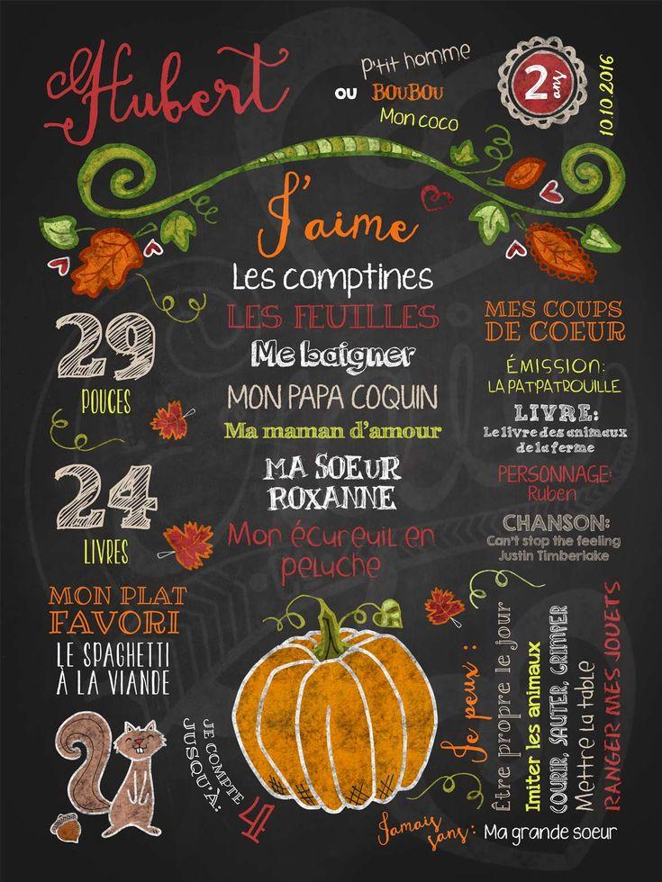 Affiche chalkboard anniversaire 2 à 5 ans Rêve d'automne - ROUGE