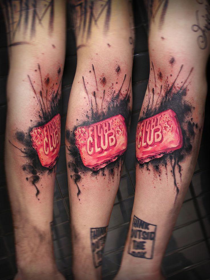 Fight Club tattoo, by Uncl Paul, guest tattoo artist at Black Onyx Tattoo Studio (N7 8GR, London) 11th-20th August 2014.