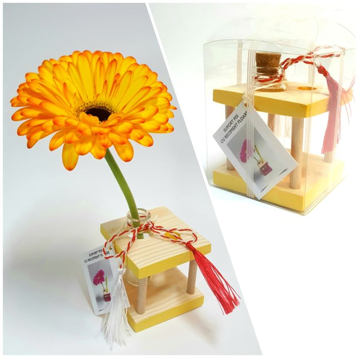 Pen holder with flower container YELLOW