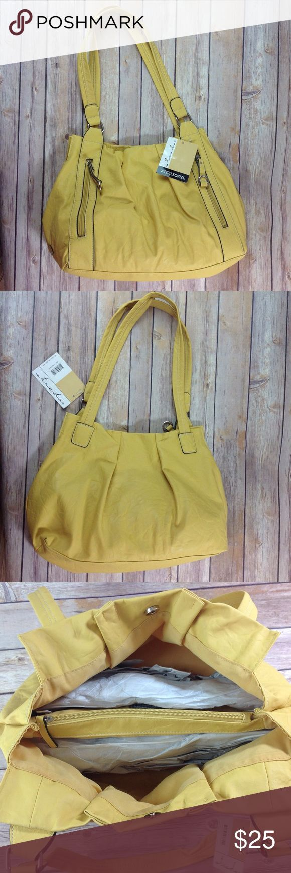 NEW with tags Strada Mustard Yellow Hobo Handbag New purse with organizer pockets.  Has 2 front pockets, 1 center/divider packet, and 1 inner pocket.  Faux leather.  Measures 16 1/2 in wide, 10 1/2 in high, and 5 in deep. Strada Bags Hobos