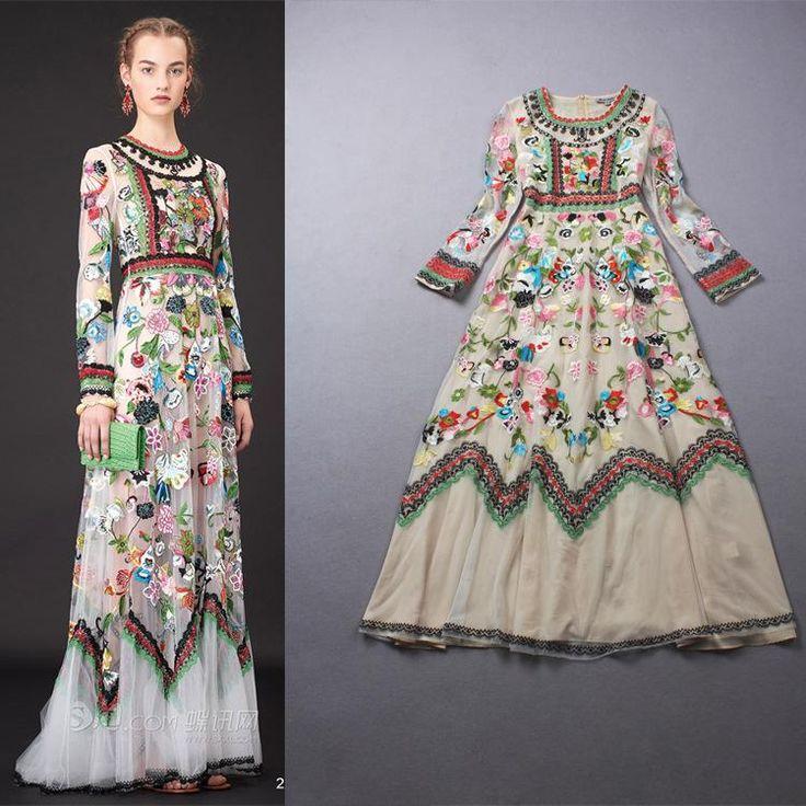 Tendencia De Encaje Largo Maxi Vestido De Verano Antumn Boutique Floral Bordado Vintage Delgado Ver A Través De Vestir De Alta Calidad De