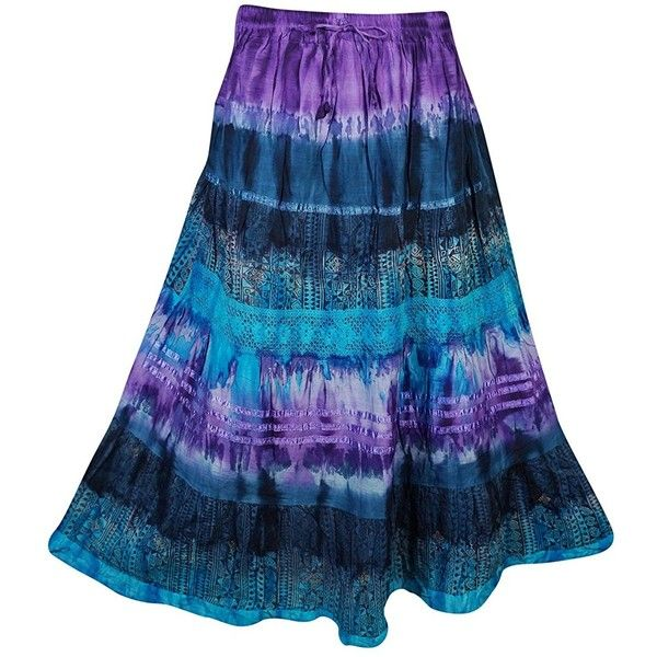 Mogul Womens Festive Skirt Tie Dye Colorful Vintage Crinkle Flare... ($50) ❤ liked on Polyvore featuring skirts, blue skirt, long blue skirt, vintage maxi skirt, flare skirt and flared maxi skirt