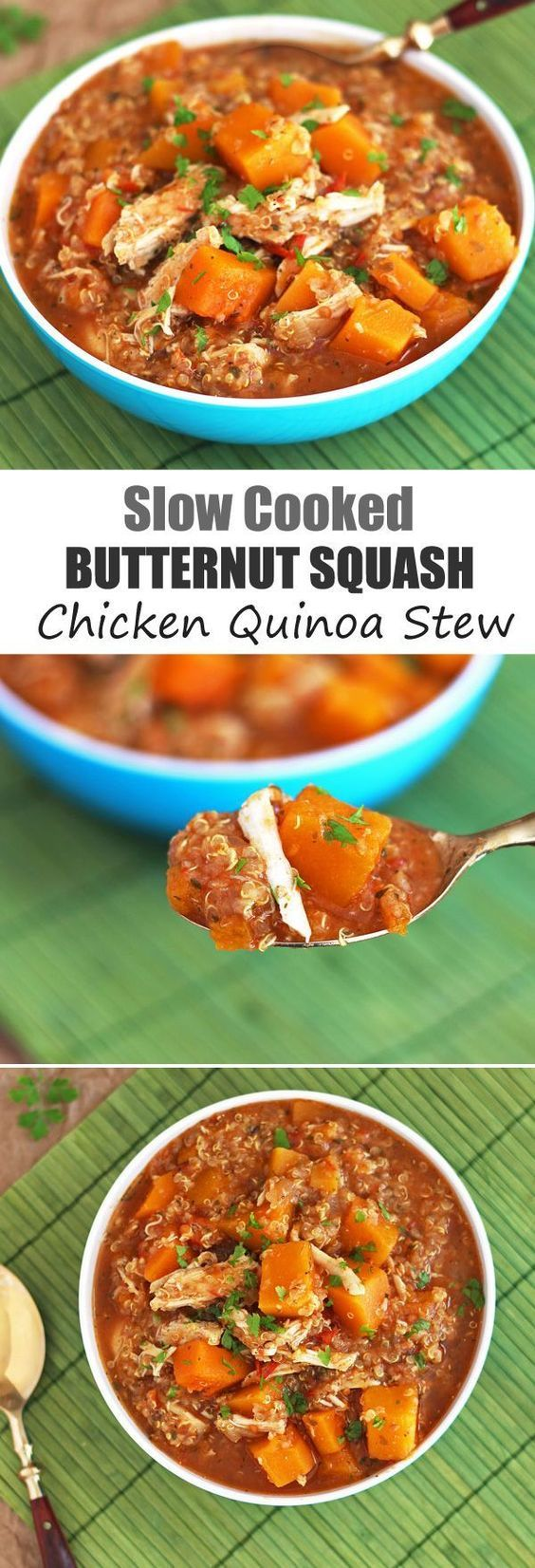 Slow Cooker Butternut Squash Stew with Quinoa & Chicken - A warming healthy meal that cooks in the crockpot. This recipe is pure comfort food! Perfect for weeknight meals in the Fall and Winter.