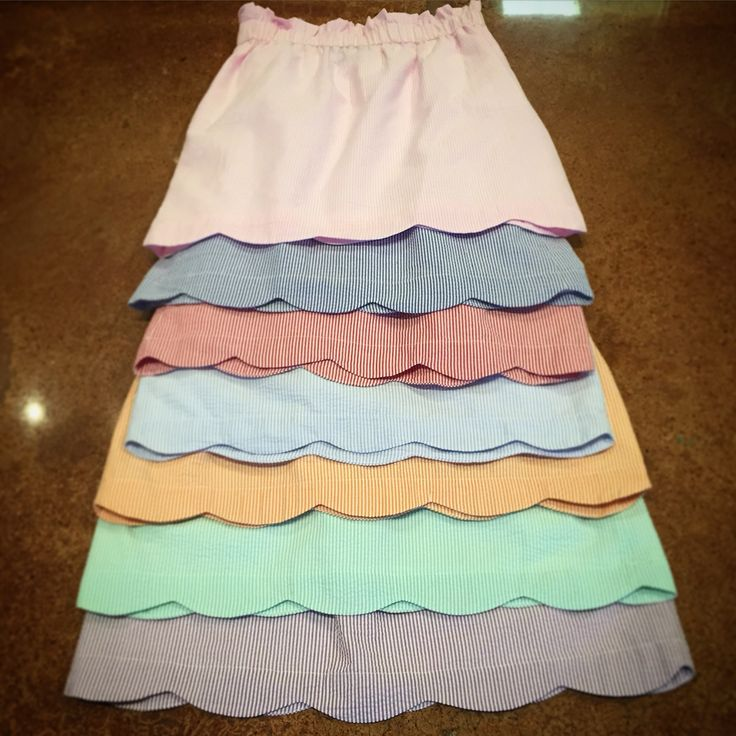 Scalloped skirt rainbow! #laurenjames #seersuckerskirt I could totally create a skirt similar to this omg