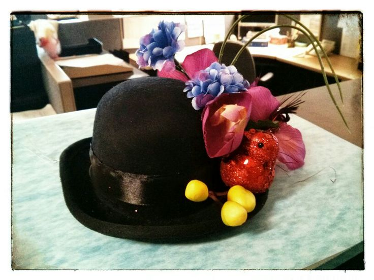 Crafter's corner on coffee break at work today... Embellish the mini bowler... Fascinator-ific...  :)