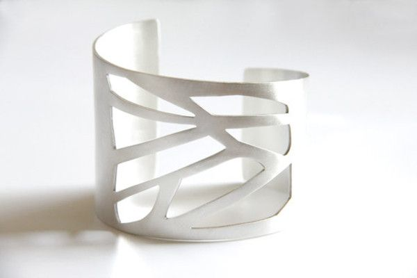 Wide Sterling Silver Cuff with A Geometric Cut Out Pattern