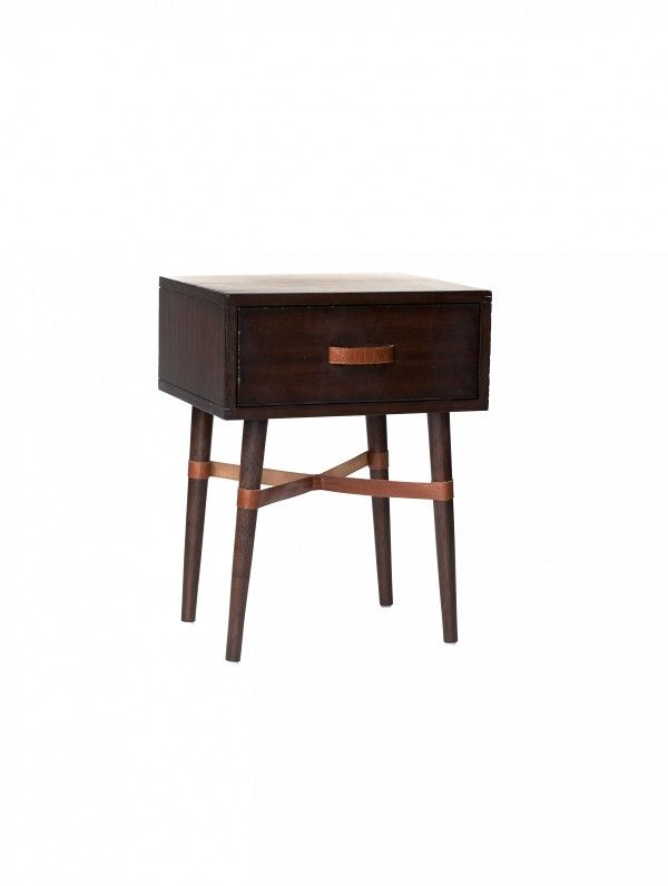 Threshold Wood and Leather Accent Table ($100) A…
