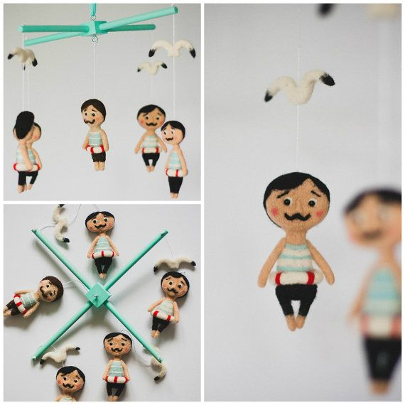 This Cute Baby Mobile with Needle Felted Mustache Sailors is perfect to decorate your baby's room and crib. by funkysheepy, $150.00