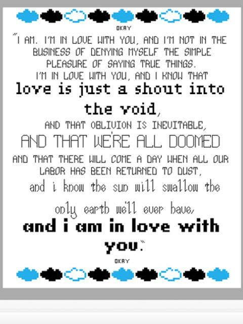 Cross Stitch Pattern - The Fault In Our Stars Quote - John Green. £3.00, via Etsy.