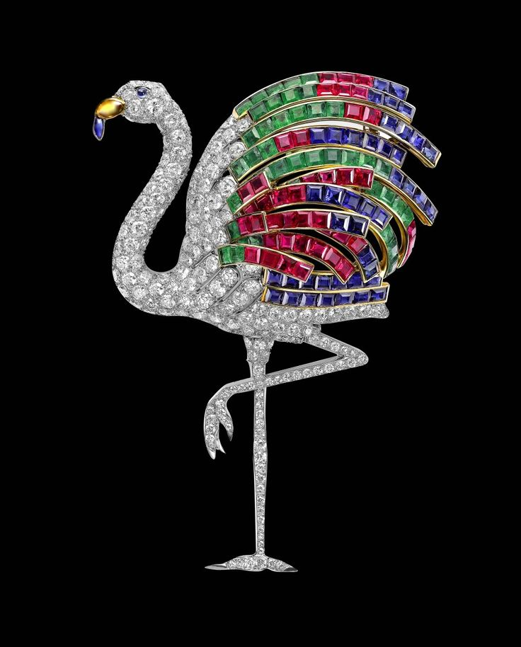 Flamingo Brooch, Cartier Paris, special order, 1940. Platinum, yellow gold, brilliant-cut diamonds, calibré-cut emeralds, sapphires and rubies, sapphire cabochons and one citrine. Sold to the Duke of Windsor.