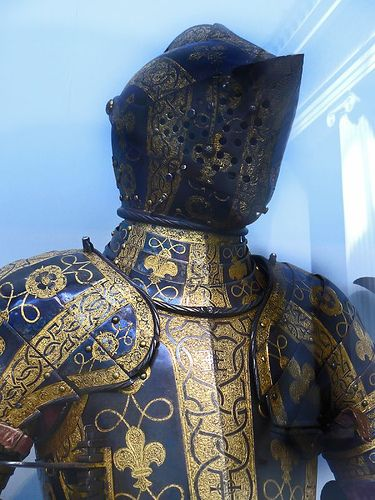 Armor of George Clifford, Third Earl of Cumberland. Etched blued and gilt, English, 1580-1585.Armors Decor, Third Earl, Fashion Historical, Modern Armors, George Clifford, Armors Classic, Knights Armors, Historical Armors, Etchings Blu