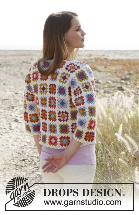 Crochet DROPS jacket with ¾ sleeves and granny squares in Alpaca. Size: S - XXXL