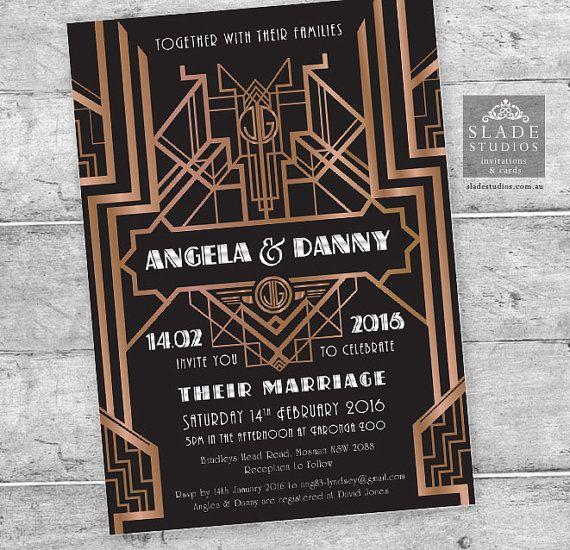 Great Gatsby 1920s Art Deco Wedding Invitation Set by SladeStudios