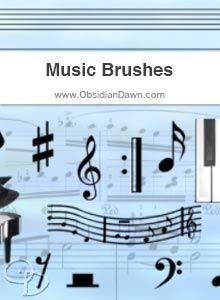 Obsidian Dawn Music Photoshop & GIMP Brushes (musical notes, bars to add your own notes to make music, a few instruments and keyboard, etc.)