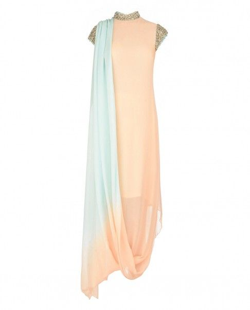 Peach and Aqua Draped Kurta Set