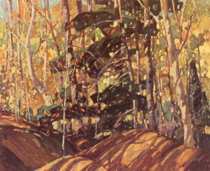 """""""Autumn Woods, Interior, West Don Valley,"""" Frank Carmichael,oil, 30 x 36 1/2"""", collection of C.S. Band."""