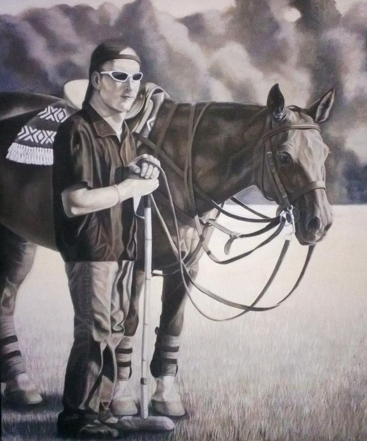 Polo Play 2 - by Dawn Du Preez  Beautiful oil of a polo player and his horse.  available on  http://sherrynssecret.com/index.php?route=product/category&path=126