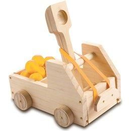 kids Truck Catapult . You'll have a great time building this tabletop truck catapult with your child and then avoiding catapulted balls! Building Set includes all building materials; but a hammer & glue are needed. We've also added paints & brushes so kids can decorate their catapult after they build it. Kit also includes truck graphic stickers, 5 small balls, rubber band. Difficulty level: beginner. Younger children will need adult assistance. For ages 4 and up.