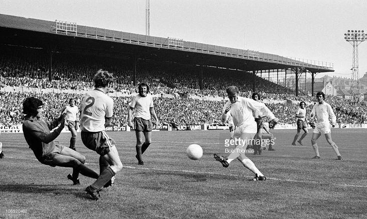 2nd September 1972. Jack Charlton scoring past Norwich City goalkeeper Kevin Keelan, at Elland Road.
