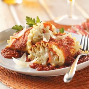 Pepperoni Lasagna Roll-Ups Recipe from Taste of Home -- shared by Jennifer Juday of Copperas Cove, Texas