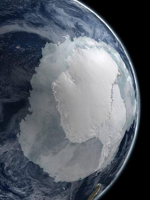 A photograph of the South Pole from space.