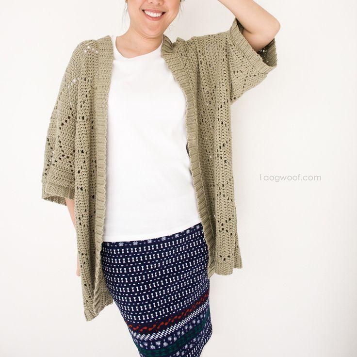 FREE crochet pattern for a Summer Diamonds Kimono Cardigan, using We Are Knitters Cotton Wool   www.1dogwoof.com