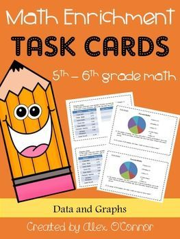 Unit of math enrichment task cards (Data and Graphs) for upper elementary or middle school math. Each task card includes 1-3 challenging math problems that relate to various statistics topics. Topics include mean, median, mode, range, frequency tables, histograms, circle graphs, choosing appropriate measures and displays, and more! Easy to print, cut, and have ready to go! Great for math workshop or for students who finish work early!