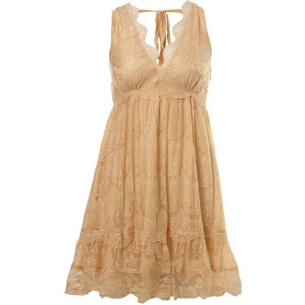 Peach Lace Dress ($64) ❤ liked on Polyvore featuring dresses, vestidos, short dresses, vestiti, women's clothing, peach lace dress, miss selfridge, lace cocktail dress and beige short dress
