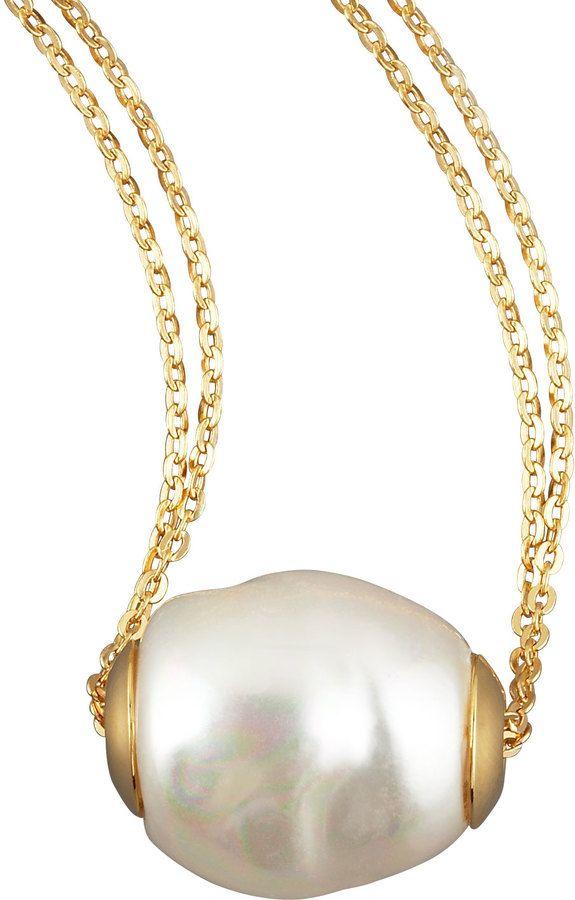 Majorica Gold Pearl Pendant Necklace, White