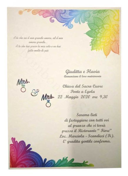 partecipazione arcobaleno Mrs&Mrs