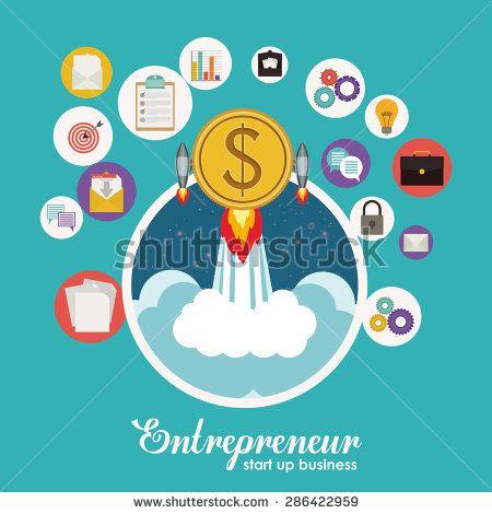 Entrepreneur design over blue background, vector illustration - stock vector
