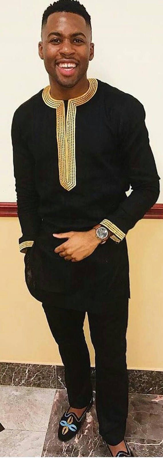 African Mens clothing with embroidery/African clothing/black #AfricanFashion