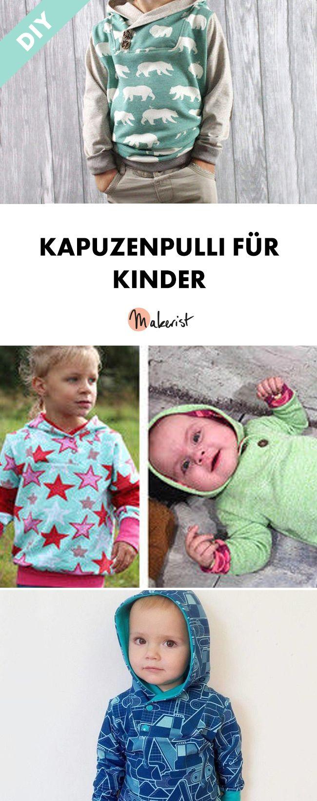 Lässiger Kinderhoodie mit verschiedenen Varianten - Nähanleitung und Schnittmuster via Makerist.de