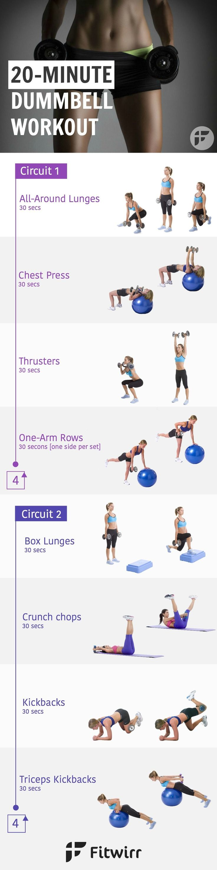 Turbocharge your fat burning engine with this 20 Minute Dumbbell Workout Routine. If your goal is to lose weight and burn fat, you need to crank up your metabolism. Perform this workout 3 times  a week.