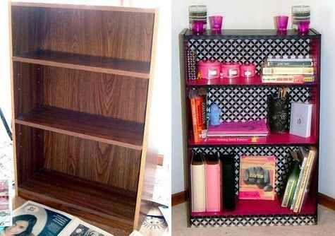 Use contact paper to jazz up a bookshelf.