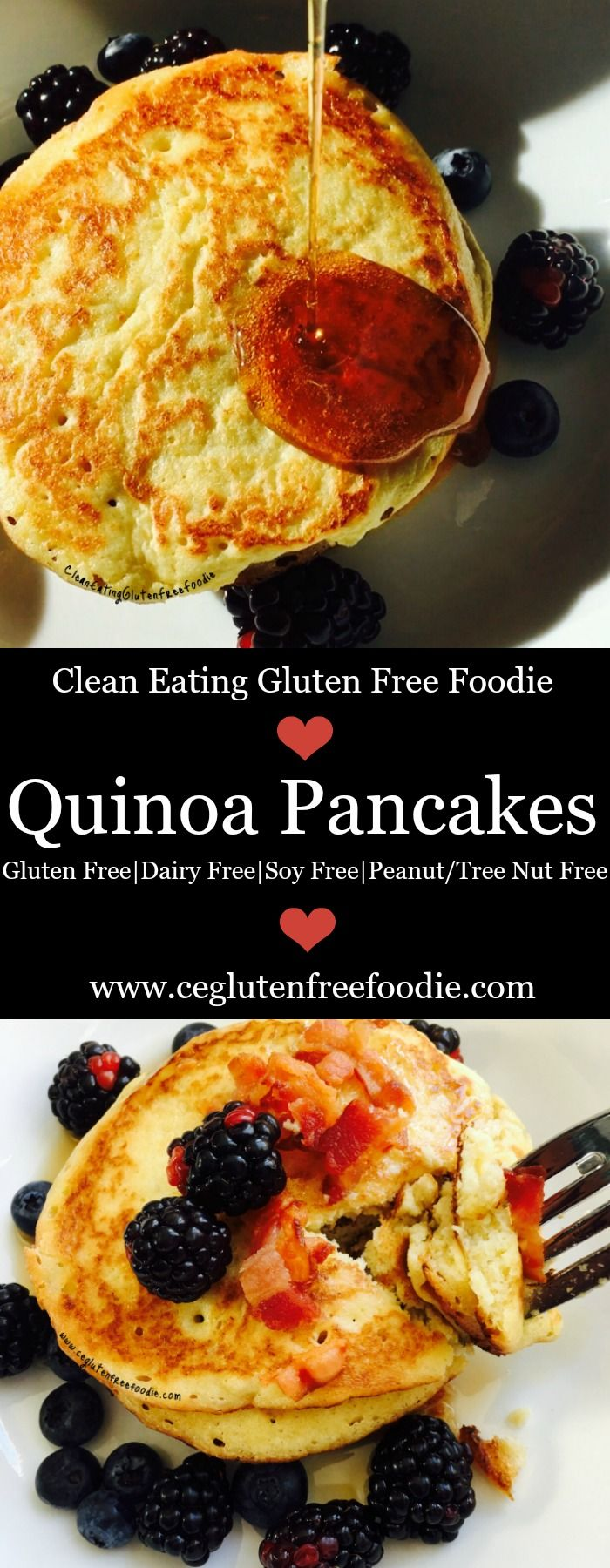 Homemade quinoa pancakes made with leftover quinoa. This recipe is easy to make, gluten free, dairy free, soy free, peanut and tree nut free. My kids love this recipe and hopefully your kids will too. (real food and 21 day fix approved)
