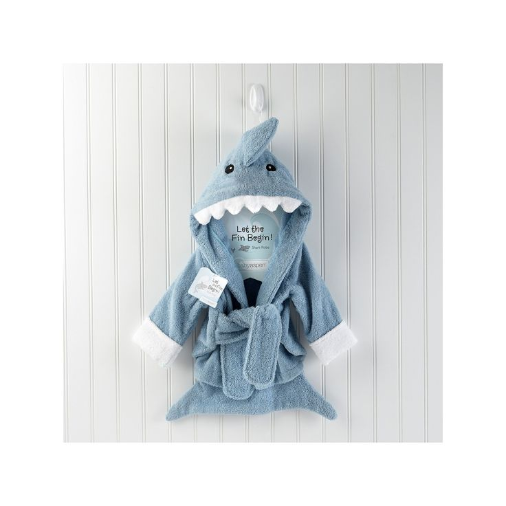 Baby Aspen Let the Fin Begin Terry Shark Robe - Newborn, Infant Boy's, Size: 0-6 Months, Blue
