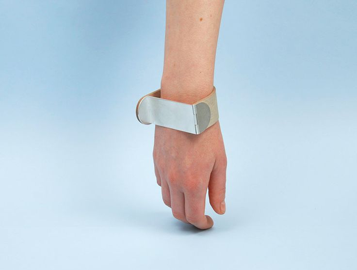 Sara Malm. Bracelet: Untitled, 2016. Plywood, silver.. 7 x 8 x 3 cm. Photo by: Sara Malm. From serie: In Line With.