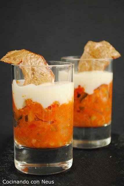 Cocinando con Neus: Vasitos de pisto con all i oli y peladuras de patatas