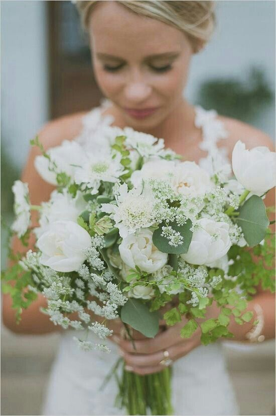 Gorgeous Bride's Bouquet Showcasing: White Tulips, White/Mint Scabiosa Flowers, White Queen Anne's Lace, Other White Florals, Green Silver Dollar Eucalyptus & Green Maiden Hair Fern