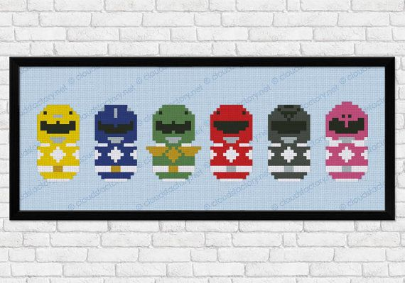 Power Rangers parody Cross stitch PDF pattern by cloudsfactory