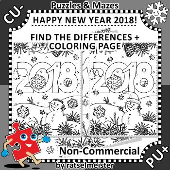This is New Year 2018 themed set of two activity pages with year number heading and winter scene. ***** Commercial use is NOT allowed. ***** First one is the find the differences picture puzzle, printable black and white, A4 or Letter sized, in PNG format, file name ends in -ppng.