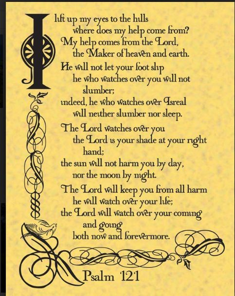 Psalm 121-Bless your Holy name Jesus ~ just love this.  Thank you Lord Jesus
